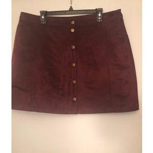 Burgundy Corduroy Button-Up Mini Skirt